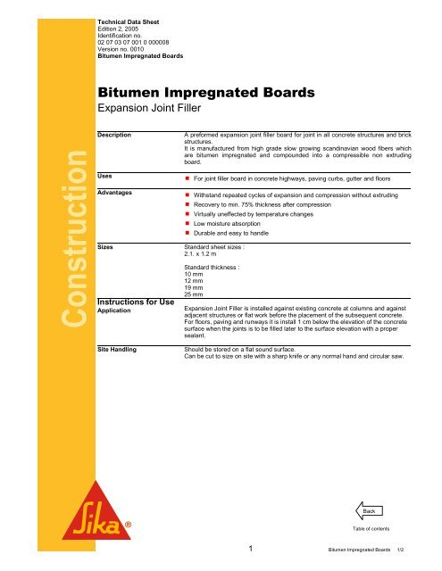 Bitumen Impregnated Boards - Sika Indonesia