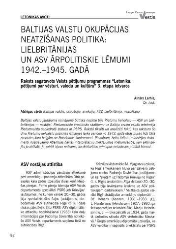 BALTIJAS VALSTU OKUPĀCIJAS NEATZĪŠANAS POLITIKA ...