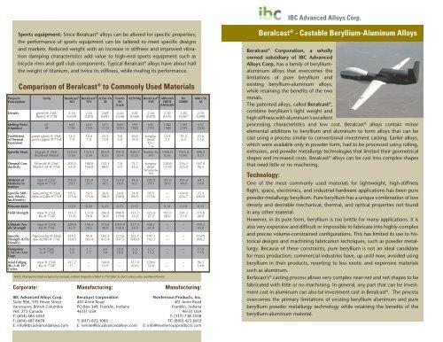Beralcast - IBC Advanced Alloys