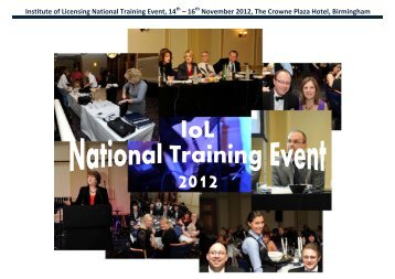 Institute of Licensing National Training Event, 14 – 16 November ...
