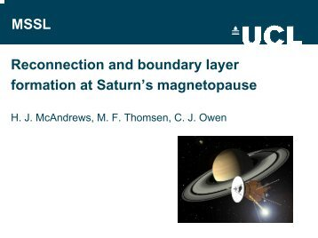 MSSL Reconnection and boundary layer formation at ... - CAPS