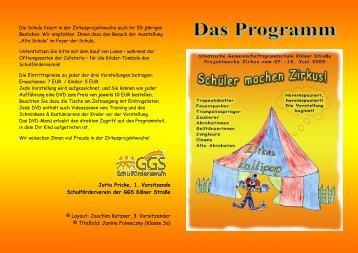 Das Programm der Zirkuswoche - Ggskoelnerstrasse.de