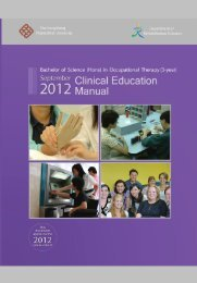 OT Clinical Manual - Department of Rehabilitation Sciences - The ...