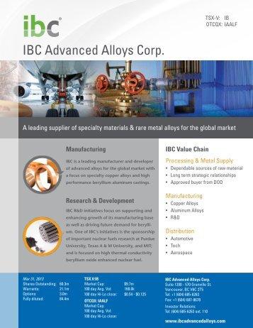 Fact Sheet - IBC Advanced Alloys