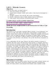 LAB 11 Molecular Geometry Objectives