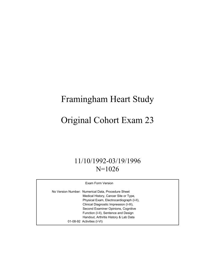 framingham heart study The framingham heart study was launched not long after franklin delano roosevelt succumbed to a massive stroke, the result of runaway blood pressure, at a time when cardiologists in the united states numbered fewer than 400 and heart disease was the nation's number- one cause of death.