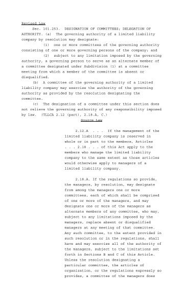 Business Organizations Code revisor's report, part 4