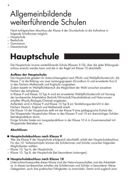 Bildungswege in Wuppertal - Stadt Wuppertal
