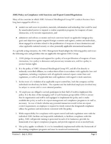 AMG Policy on Compliance with Sanctions and Export Control ...