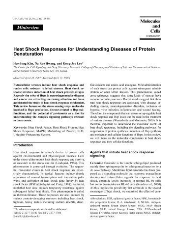 Heat Shock Responses for Understanding Diseases of Protein ...