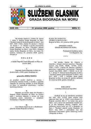 Službeni glasnik Grada Biograda na Moru - broj 08/2008