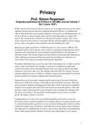 Privacy - Centre for Computing and Social Responsibility - De ...