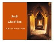 Audit Checklists Checklists