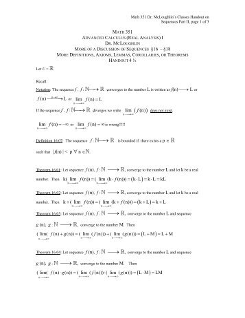 Handout: On Sequences, Part II - Faculty Home Pages
