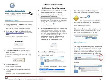 Lawson Portal Basic Navigation - Denver Public Schools