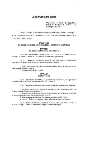 LEI COMPLEMENTAR 36/2005 - Prefeitura Municipal de Sarzedo