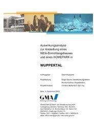 Auswirkungsanalyse der GMA - Stand September ... - Stadt Wuppertal