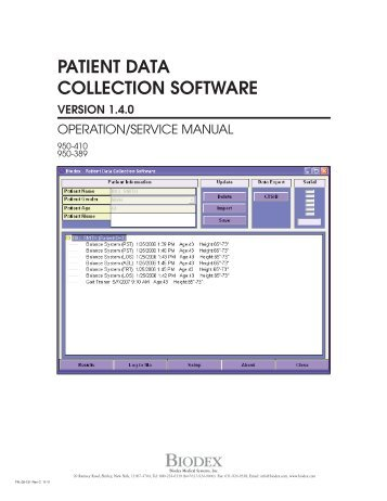 patient data collection software version 1.4.0 - Biodex