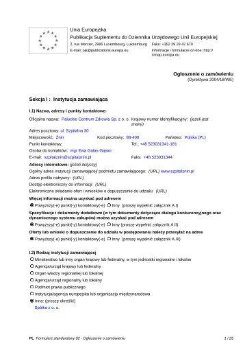 Unia Europejska Publikacja Suplementu do Dziennika Urzędowego ...