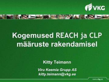 VKG Kogemused REACH ja CLP määruse ... - Terviseamet
