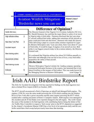 Irish AAIU Birdstrike Report - Center for Wildlife and Aviation ...