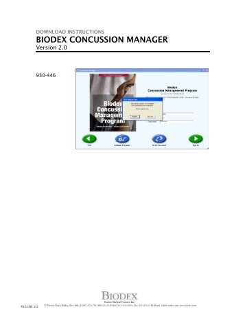Download Instructions, Biodex Concussion Manager v2.0