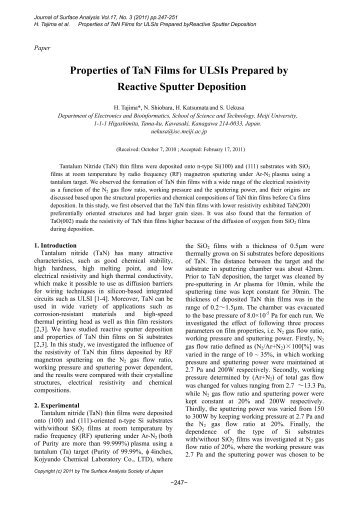 Properties of TaN Films for ULSIs Prepared by Reactive Sputter ...