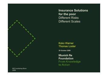 Dr. Koko Warner (UNU-EHS) - Climate-related micro-insurance in ...