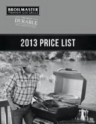 Broilmaster 2013 Retail Price List - Ray Murray Inc.