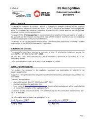 IIS Recognition - Fonds québécois de la recherche sur la nature et ...