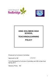 Teaching 4 Learning - King Solomon High School
