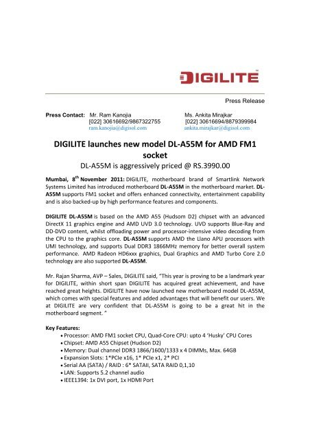 DIGILITE Launches new motherboard model DL-A55M     - Digisol com