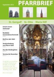 Pfarrbrief September 2013 - St. Gangolf
