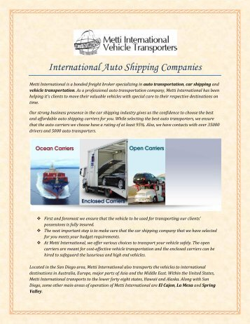 International Auto Shipping Companies
