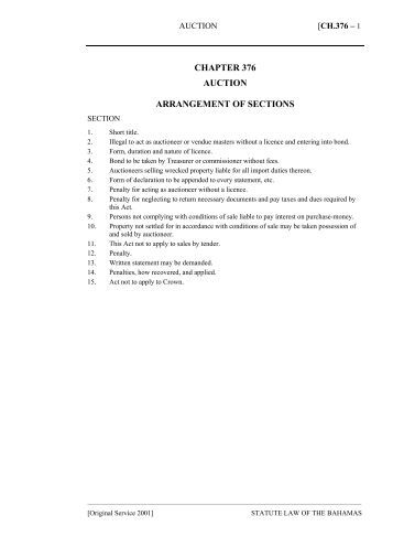 Auction Act - The Bahamas Laws On-Line