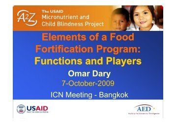 Elements of a Food Fortification Program: Functions and Players