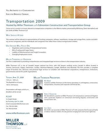 Transportation Seminar Invitation 2009.indd - Miller Thomson