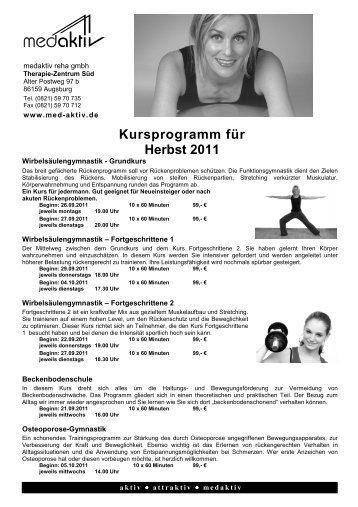 Kursprogramm für Herbst 2011 - medaktiv