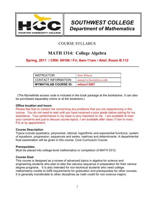 1314 Syllabus Spring 2011 pdf - HCC Learning Web