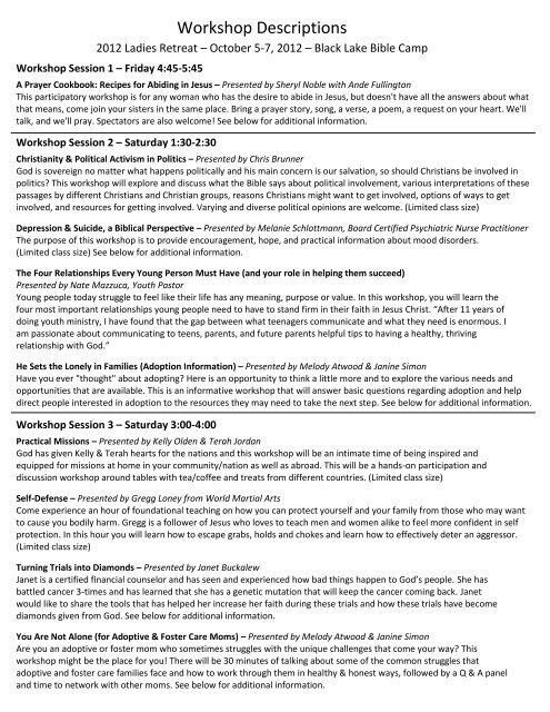 Workshop Descriptions - Black Lake Bible Camp