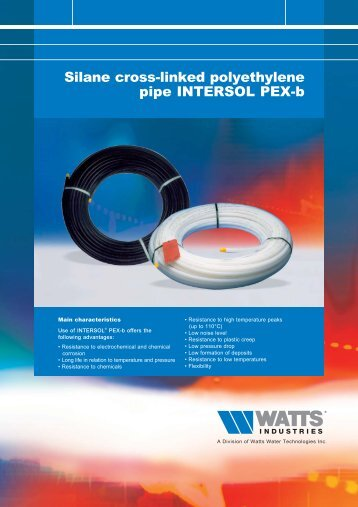Silane cross-linked polyethylene pipe INTERSOL ... - Watts Industries