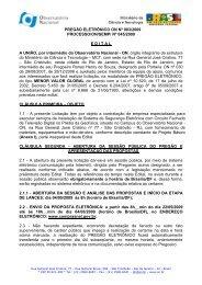 Pregão Eletrônico 03 2009 - Observatório Nacional