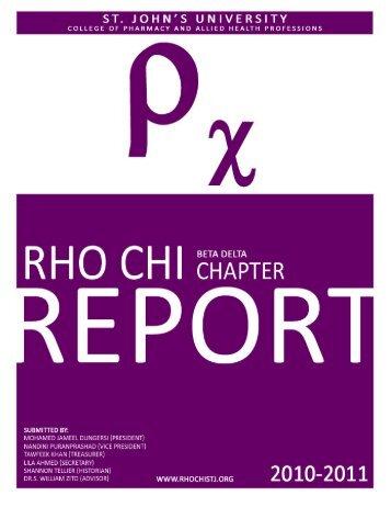 2010-2011 - The Rho Chi Society