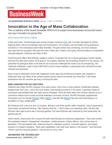 Innovation in the Age of Mass Collaboration - Anthony D. Williams