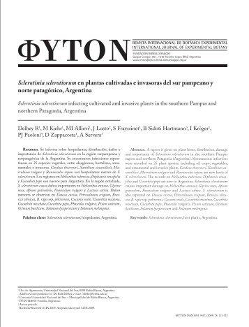 Sclerotinia sclerotiorum en plantas cultivadas e invasoras ... - Phyton