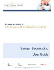 Sanger Sequencing User Guide - McGill University and Génome ...