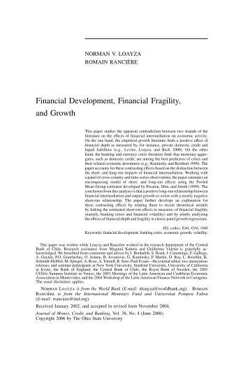 Financial Development, Financial Fragility, and ... - Romain Ranciere