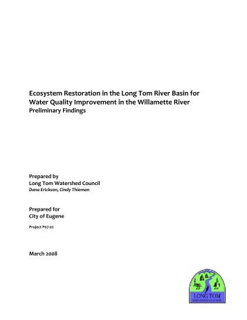 Ecosystem Restoration in the Long Tom River Basin for Water ...