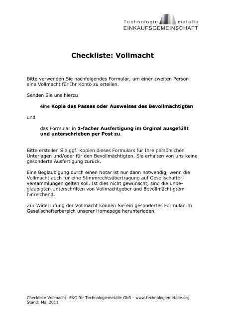 Checkliste Vollmacht Technologiemetalleorg