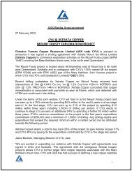 Mount Frosty Project Joint Venture with Xstrata Copper - Goldsearch